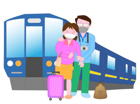 Couples enjoy traveling with a mask to prevent infection of the new coronavirus.