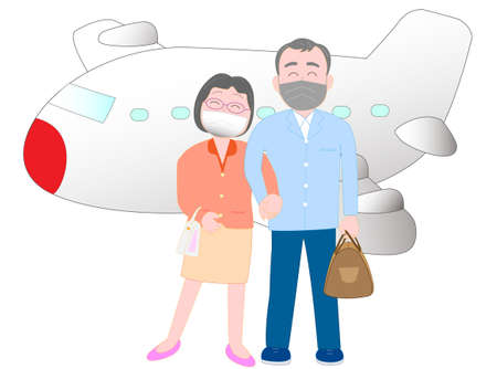 Elderly couples enjoy traveling with a mask to prevent infection of the new coronavirus