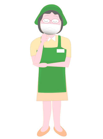 Pose of a supermarket employee wearing a coronavirus infection prevention mask