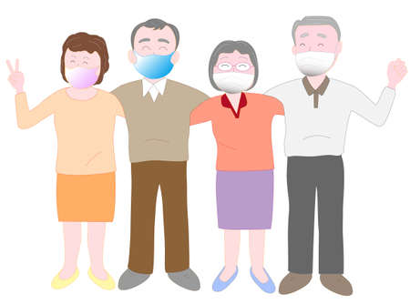 Elderly people wearing masks to prevent infection of the new coronavirus and spend their old age in good health