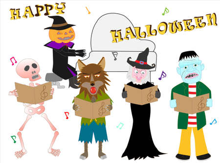 Jack Orantan and the Werewolf are celebrating Halloween with a music party.