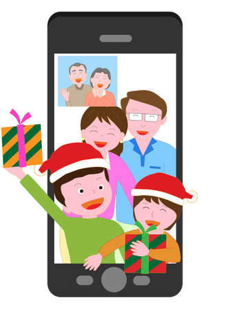 Families and Santa Claus having a Christmas party remotely using their smartphones.