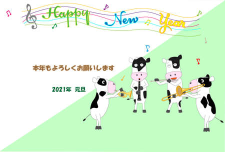 Reiwa new year's card template for cows holding a concert to celebrate the 3rd new year.