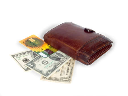 credit card,dollars and wallet on white background photo