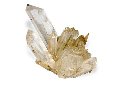 monster van het bergkristal geïsoleerd op witte achtergrond Stockfoto