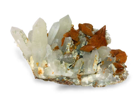 Crystals of a kaltsit and quartz on a white background