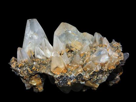 trigonal: Crystals of a kaltsit on a black background Stock Photo