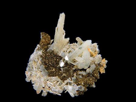 trigonal: Crystals of a pirit and quartz on a white background Stock Photo