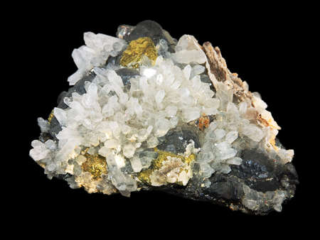 Crystals of a pirit and quartz on a black background