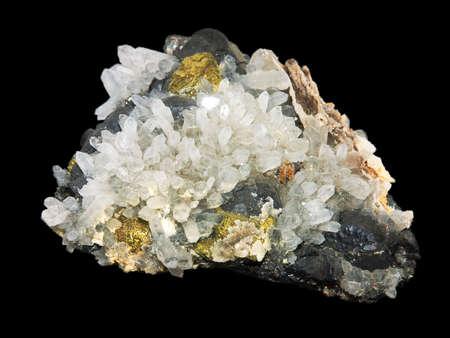 trigonal: Crystals of a pirit and quartz on a black background