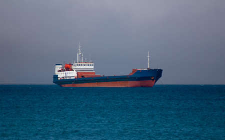 nave: nave on roadstead before storm on sea