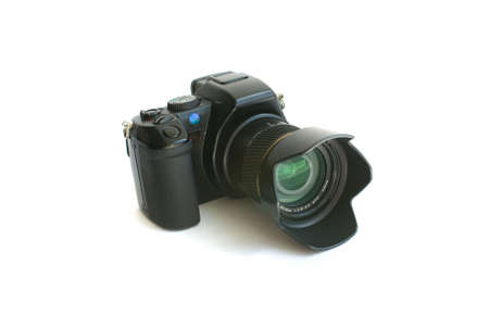 The black camera isolated on a white background