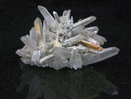 Rock crystal on a black background Stock Photo