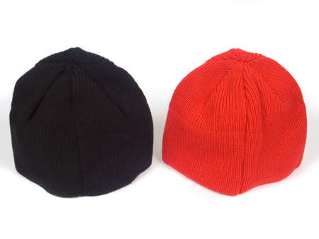 red and blackenning atheletic hats on white background
