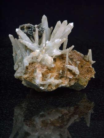 sample Rock crystal on a black background