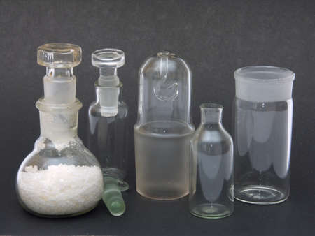 Chemical ware from glass on a black background