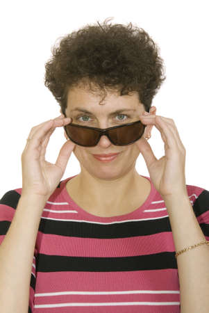 curly woman with spectacles on white background Stock Photo