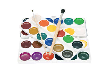 watercolor paints and brushes to paint on a white background