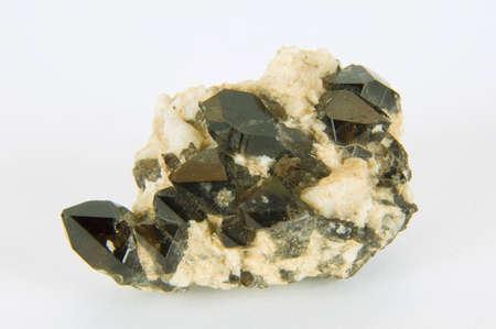 trigonal: Quartz crystals are black on a white background