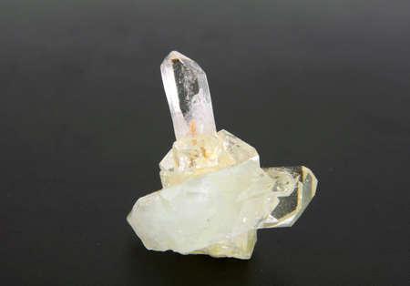 trigonal: large quartz crystal on a gray background