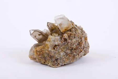 trigonal: Quartz crystals on a white background