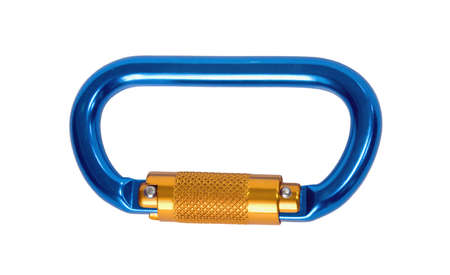 climbing carabiner insulated on white background
