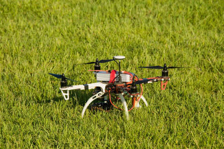 drone in the meadow before the flight