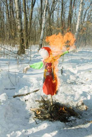 burning effigies in holiday carnival Stock Photo