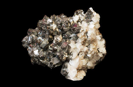 the crystals of sphalerite and calcite isolated on a black background Stock Photo