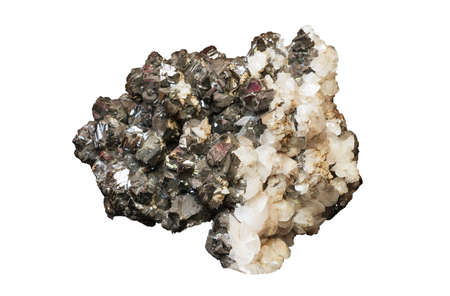 the crystals of sphalerite and calcite isolated on a white background Stock Photo