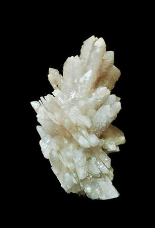 the quartz crystals isolated on a black background