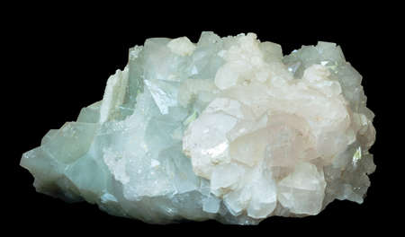 the crystals of calcite and quartz isolated on a black background Stock Photo