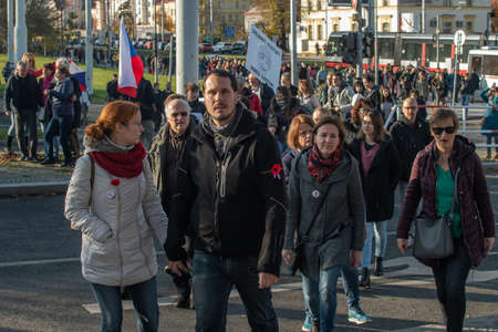 Prague, Czech Republic 11-19-2020. Czech Republic celebrated 30th years of Velvet Revolution-transition to democracy and free economy. People demanded resignation of president Andrej Babis.