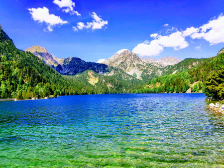 Lake San Mauricio in the central Pyrenees on a summer day