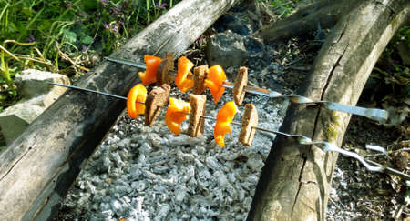 Vegetarian shish kebab of pepper and bread strung on a skewer made at the stake Stock fotó