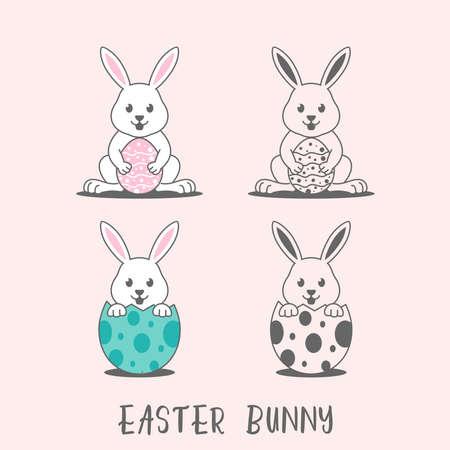 Easter bunny vectors illustration