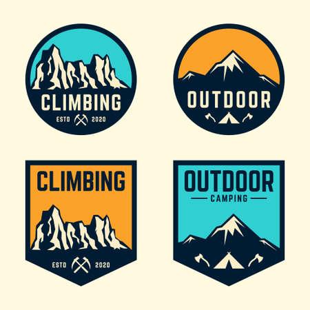 Mountain logo badge set. Adventure outdoor logo