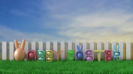 Happy easter background with colorful eggs on green meadow and sunlight on blue sky . Happy Easter greetings. 3D render. Stock Photo