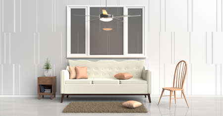 bedside: White room decorated with cream sofa,tree in glass vase, orange pillows, Blue book, Wood bedside table,Ceiling Fan,Wood chair, window,White cement wall it is pattern, white cement floor. 3d rendering.