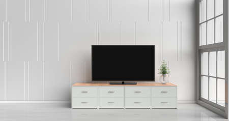 Smart tv on tv stand  in white living room decorated with wood white tv stand, tree in glass vase, white cement wall it is grid pattern, white  floor and light window. 3d rendering.