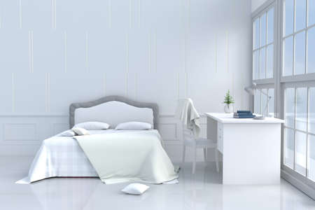 White bed room decor with tree in glass vase, pillows, blanket, window, sky, lamp, desk, book,bed, white wall it is pattern,The sun shines through the window into the shadows. 3d rendering.
