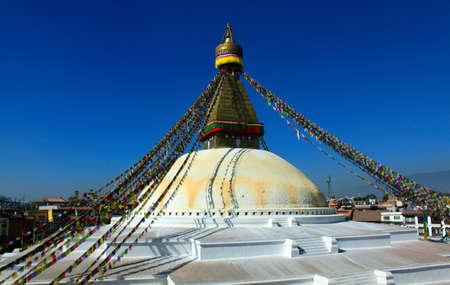 Boudhanath big stupa with wisdom eyes Stock Photo