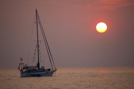 The yatch with the sunset scene Stock Photo - 17876422