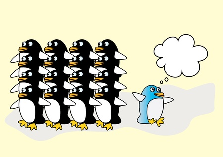 thinks: One blue penguin thinks differently, illustration