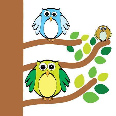 cling: Three owls  clinging on the tree