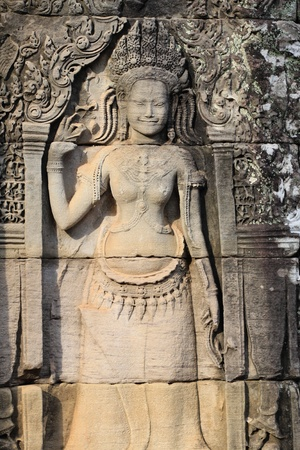 Apsara relief stone carving at Angkor in Siam Reap, Cambodia