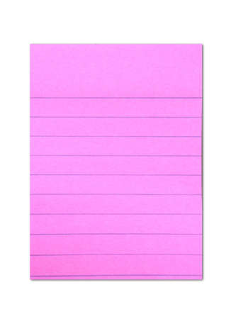 shocking: shocking pink colored post it paper with blue lines isolated on white background