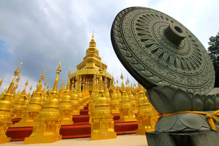 The Wheel of the Law in Buddhism at Wat Pa Sawang Bunn photo