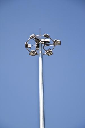 A six way street lamp under the blue sky photo