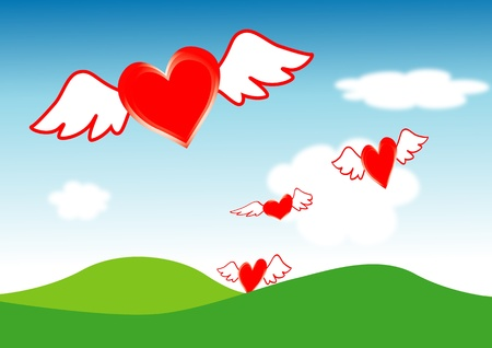 yearning: Hearts fly from far away  Illustration